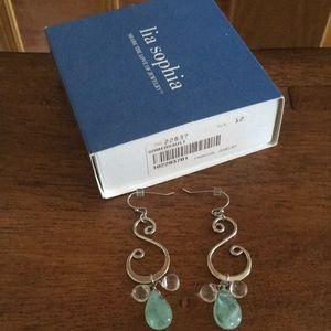 Lia Sophia Somersault jade earrings NWT